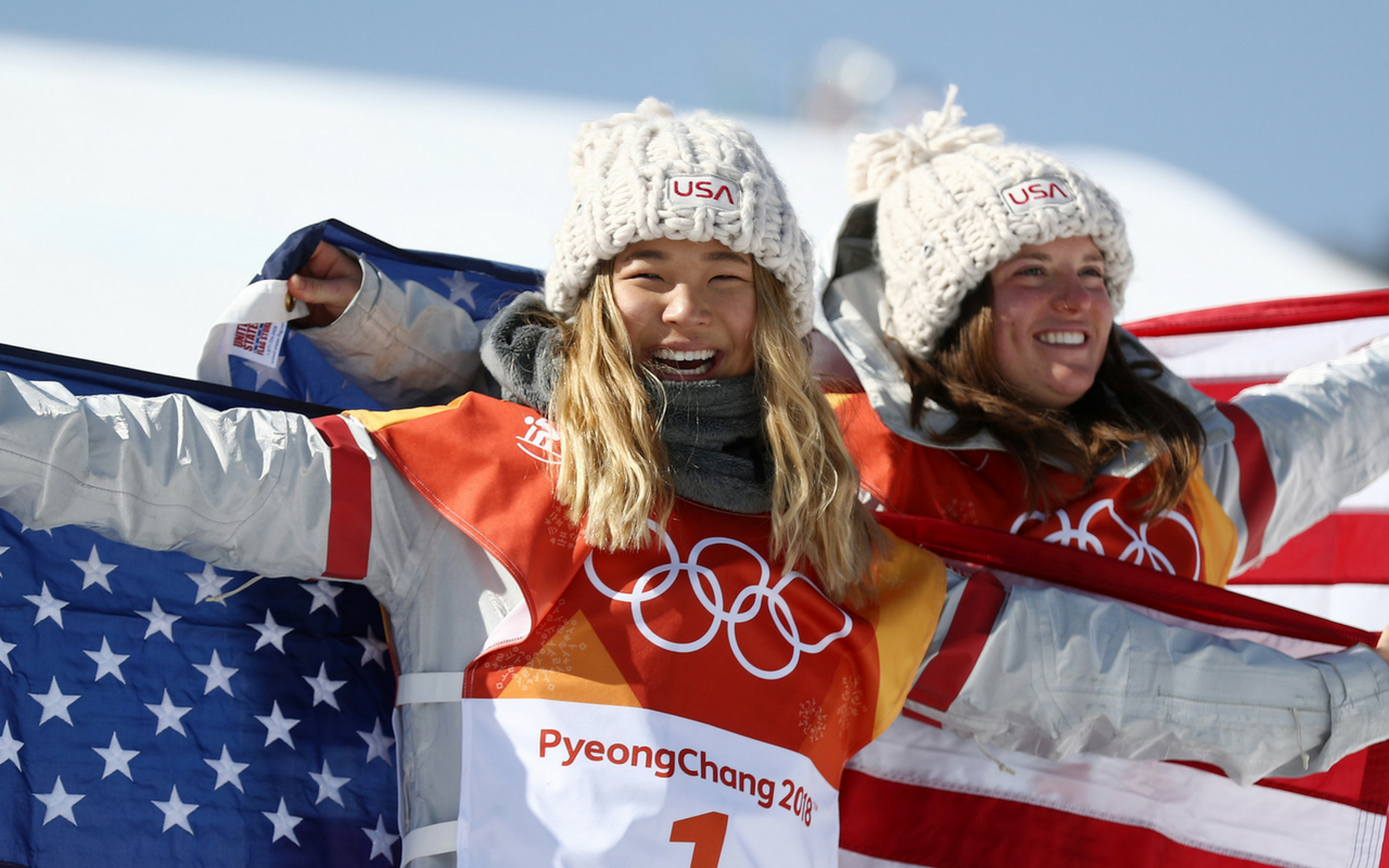 Gold Medalist Chloe Kim and Bronze Medalist Arielle Gold Celebrate Final at the 2018 Olympic Winter Games